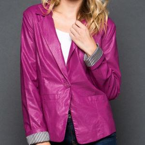 Ruby Rose 🌹Magenta Vegan Leather Jacket NWT